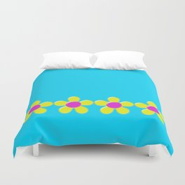 Spring Daisies Jelly Art - Yellow Pink Turquoise Duvet Cover