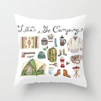 backpack Throw Pillows featuring Let's Go Camping by Brooke Weeber