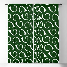 Forest Green and White Swirls Blackout Curtain