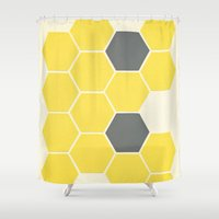 honeycomb Shower Curtains featuring Yellow Honeycomb by Cassia Beck