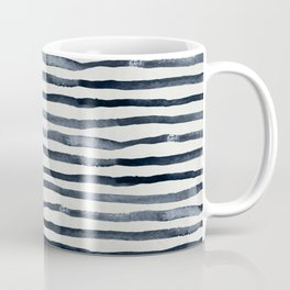 Simply Shibori Stripes Indigo Blue on Lunar Gray Coffee Mug