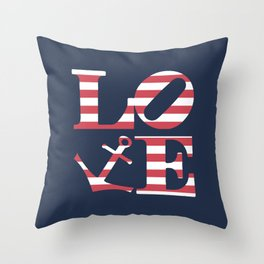Striped Love is Anchored Love Throw Pillow