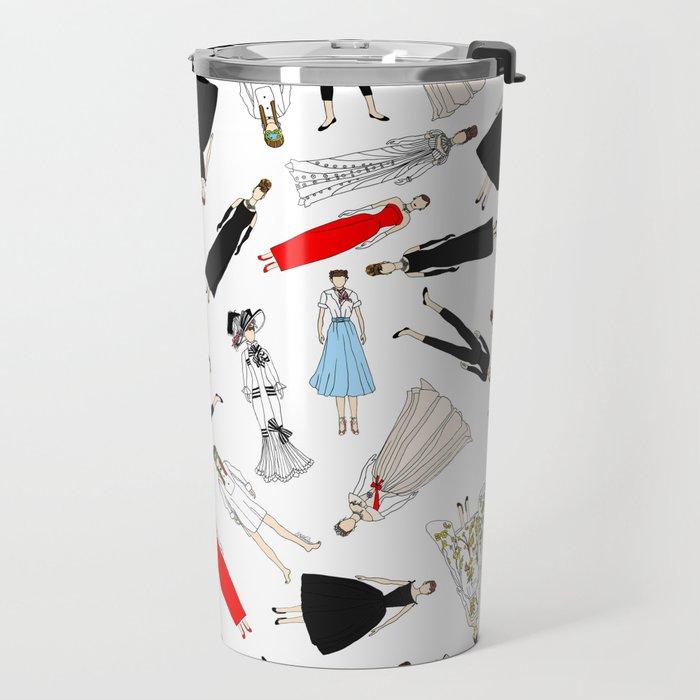 Outfits of Audrey Hepburn Fashion (White) Travel Mug