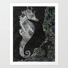 Midnight Sea-Horse Art Print