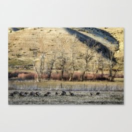 Landscape with Turkeys and Trees Canvas Print