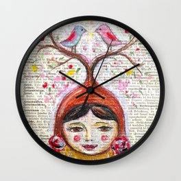 Birds and thoughts and love and magic Wall Clock