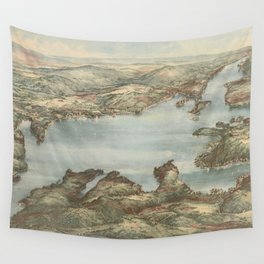 Vintage Pictorial Map of Lake Sunapee (1905) Wall Tapestry