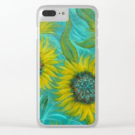 Sunflower Abstract on Turquoise I Clear iPhone Case