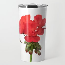 isolated red geranium in bloom Travel Mug