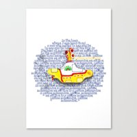 yellow submarine Canvas Prints featuring Yellow Submarine by Anaïs Rivola