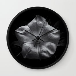 Backyard Flowers In Black And White 24 Wall Clock