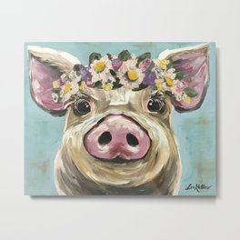 Pig Art, Flower Crown Pig, Farm Animal Metal Print