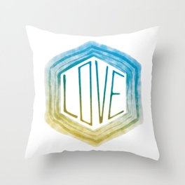 Love - Blue and Tan Throw Pillow