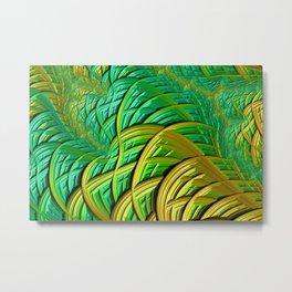 patterns green yellow string Metal Print