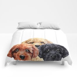 Toy poodle trio, Dog illustration original painting print Comforters