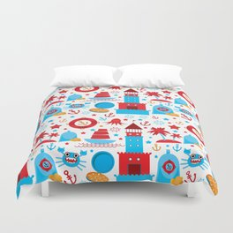 pattern with sea icons on white background. Seamless pattern. Red and blue Duvet Cover