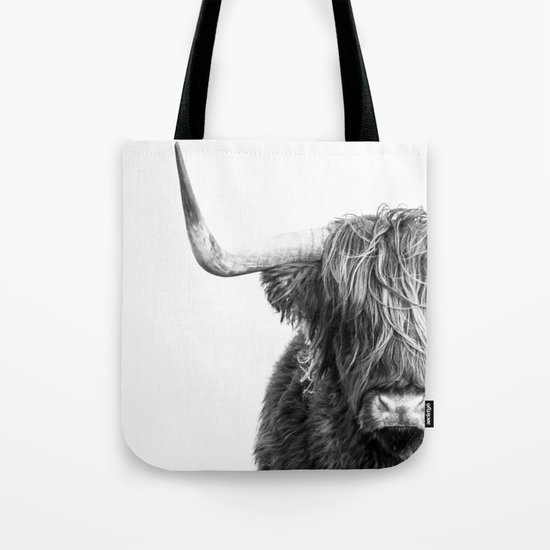 Highland Cow Portrait - Black and White by amypetersonartstudio