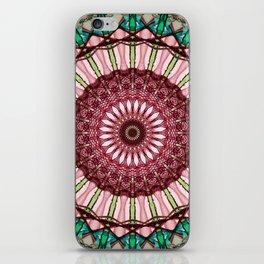 Mandala in red, light and dark green iPhone Skin