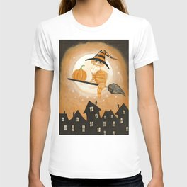 Little Ginger Witch Cat Pumpkin Delivery T-shirt