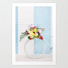 Floral Bicycle Stripe Wall Art Print