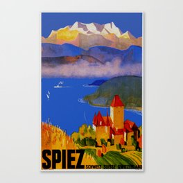 Vintage Spiez Switzerland Travel Poster Canvas Print