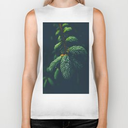 Green Pine Tree Close Up Winter Christmas Biker Tank
