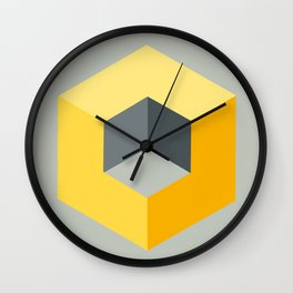 'Iso-Cube Yellow' Wall Clock