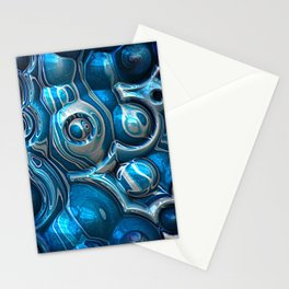 Macro 3D Blue Reflections Stationery Cards