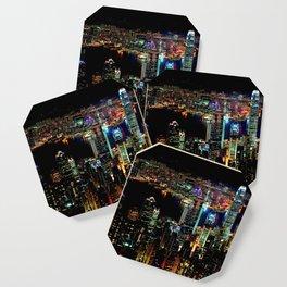 Hong Kong City Skyine Black Night Coaster