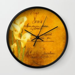 Vintage calla lilies Wall Clock