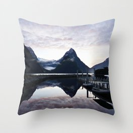Sunset to die for at Milford Sound Throw Pillow