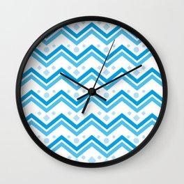 Blue wave geometric background. Ethnic style #society6 #decor #buyart #artprint Wall Clock