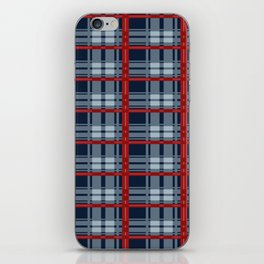 Red Line White And Blue Lumberjack Flannel Pattern iPhone Skin