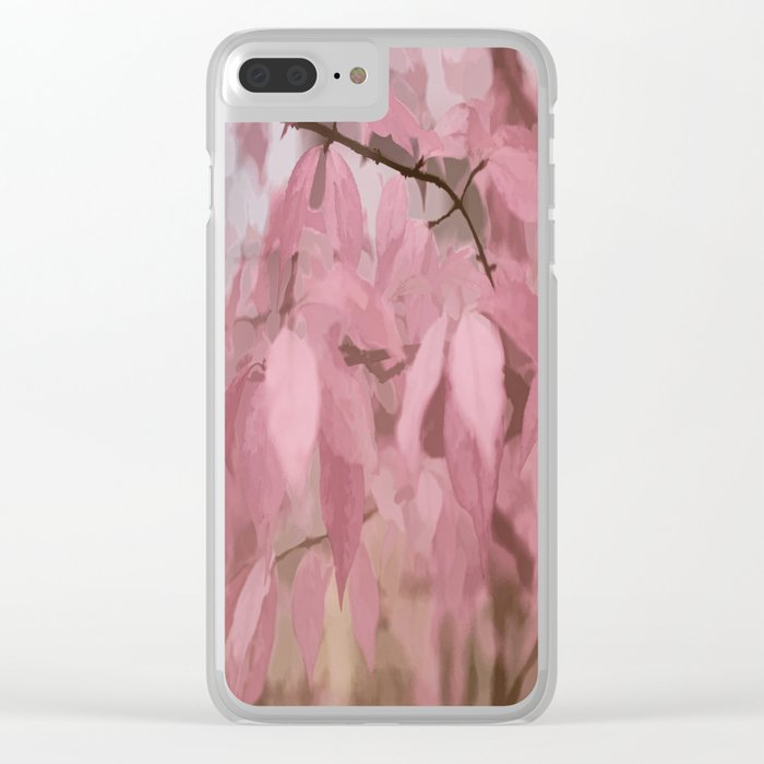 Soft Pastel Leaves  Clear iPhone Case