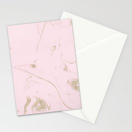 Luxe gold and blush marble image Stationery Cards