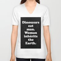 dinosaurs V-neck T-shirts featuring dinosaurs by MelleNora