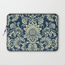 damask in white and blue vintage Laptop Sleeve