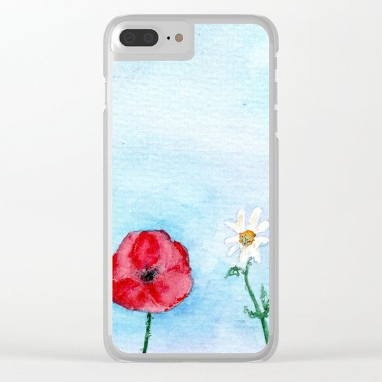 Two poppies and a daisy    watercolor Clear iPhone Case
