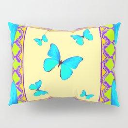 Decorative Cream & Turquoise Butterfly Art Pillow Sham