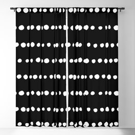 Spotted, Mudcloth, Black and White, Boho Print Blackout Curtain