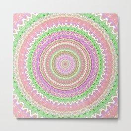 Pastel Pink Green Mandala Metal Print