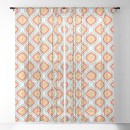 Mid Century Modern Mandala Retro Muted Turquoise Orange Sheer Curtain