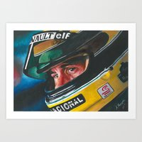 senna Art Prints featuring Ayrton Senna by Sprite Ideas
