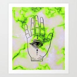 Hamsa Horus Eye Lime Green Marble Art Print