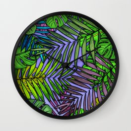 Palm & Monstera Leaves Wall Clock
