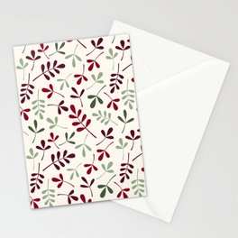 Assorted Leaf Silhouettes Ptn Reds Greens Cream Stationery Cards