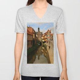 Medieval Village Reflection Unisex V-Neck