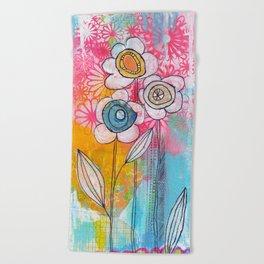 flower garden no.01 Beach Towel