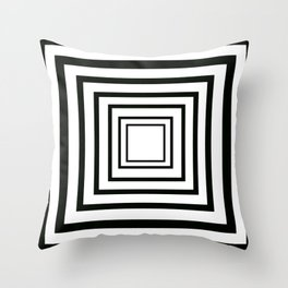 Concentric Squares Black and White Throw Pillow