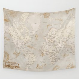 Vintage looking current world map with sea monsters and sail ships Wall Tapestry